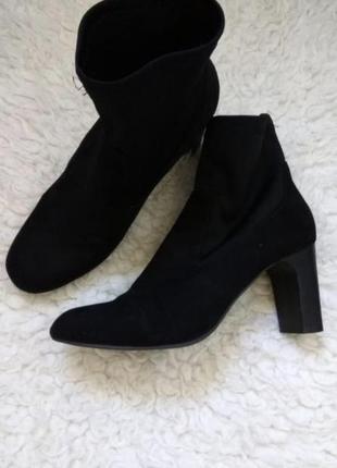 Демисезонные ботинки чёрные ботильоны на каблуке