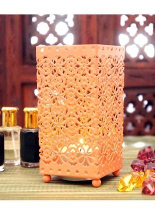 Подсвечник металлический с эмалью  персиковый