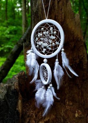 Белый ловец снов. ловець снів білий. декор для дома. амулет