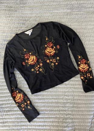 Чёрная блуза в сетку с вышивкой, кроп топ сетка, чёрный прозрачный топ с цветами👌🏽