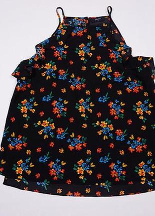 Стильная красивая майка, блуза, блузка женская 14, l, 40 цветочный принт