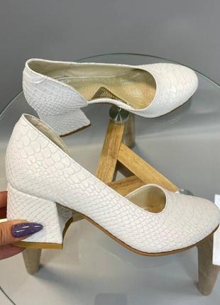 Эксклюзивные белые туфли итальянская кожа рептилия
