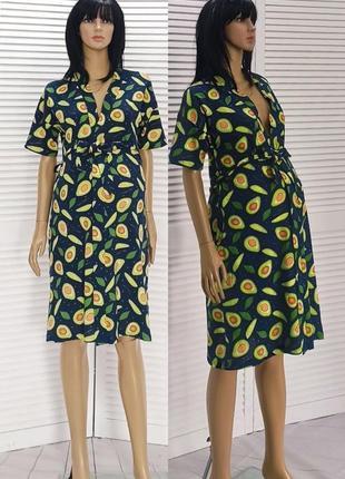 🤰 халат летний на запах авокадо для беременных и кормящих для дома и для роддома