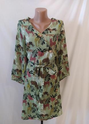 Красивое платье с животным принтом_большие пуговицы от f&f_батал
