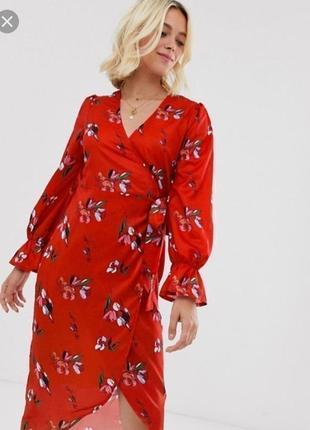 Платье миди халат цветочный принт на запах шифоновое сатиновое атласное