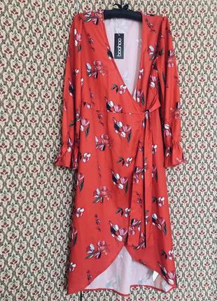 Платье миди халат на запах шифоновое шелковое сатиновое весеннее цветочный принт цветастое цветочек