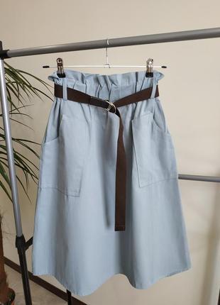 Юбка серо-голубого цвета
