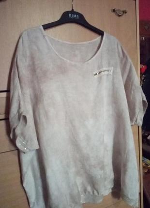 Итальянская блуза стиль бохо из льна