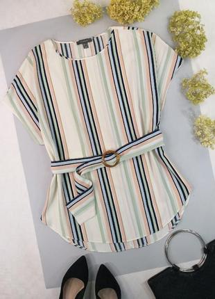 Блуза в полоску с поясом 18р.
