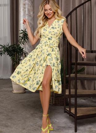 Желтое платье кроя на запах с цветочным принтом арт: 12661