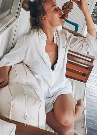 Пляжное платье туника лен батист6 фото