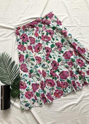 Хлопковая юбка миди в цветах