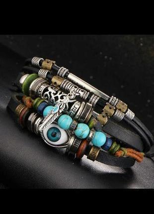 Мужской / женский браслет. кожа, качественная бижутерия.8 фото