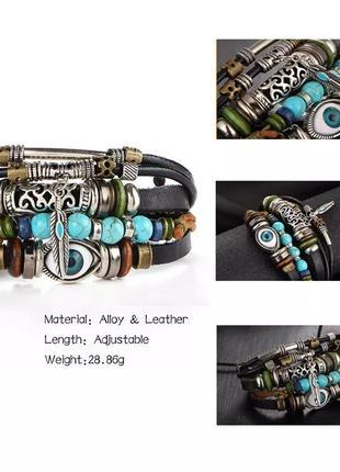 Мужской / женский браслет. кожа, качественная бижутерия.7 фото