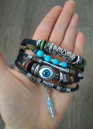 Мужской / женский браслет. кожа, качественная бижутерия.5 фото
