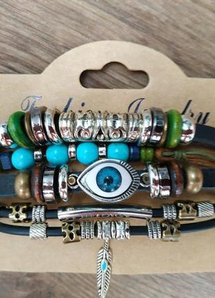 Мужской / женский браслет. кожа, качественная бижутерия.3 фото