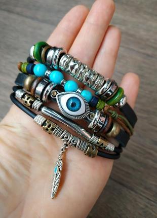 Мужской / женский браслет. кожа, качественная бижутерия.1 фото
