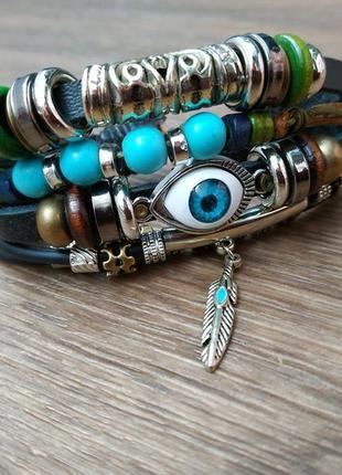 Мужской / женский браслет. кожа, качественная бижутерия.2 фото