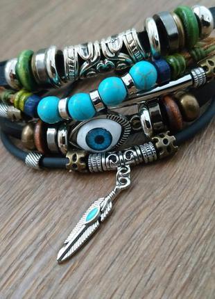 Мужской / женский браслет. кожа, качественная бижутерия.4 фото