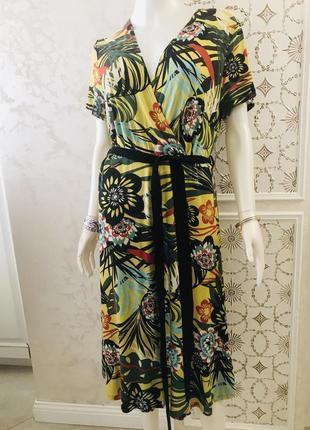 Яркое, натуральное платье/сарафан в принт цветы и листья anna field
