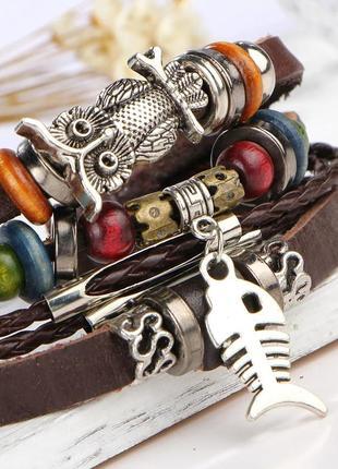 Кожаный браслет - мужской, женский. стильная и качественная бижутерия.5 фото