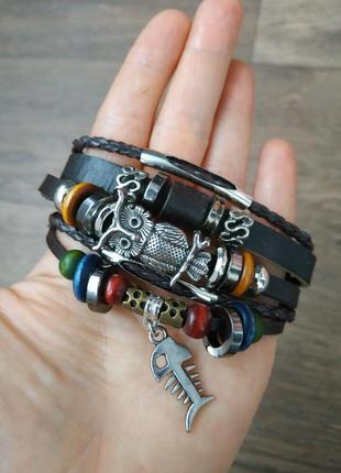 Кожаный браслет - мужской, женский. стильная и качественная бижутерия.1 фото