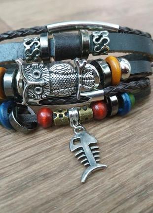 Кожаный браслет - мужской, женский. стильная и качественная бижутерия.2 фото