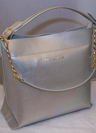 Женская сумка серебро michael kors