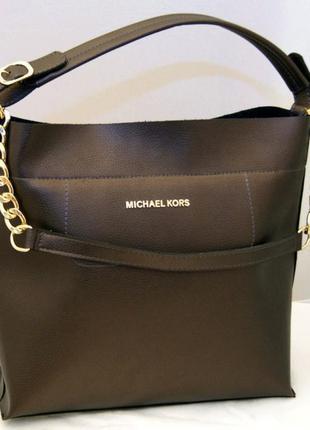Женская сумка коричневый металлик michael kors