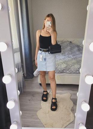 Новая голубая мини юбка трапеция джинс