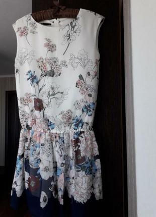 🌿 платье сарафан шифон в цветы с заниженной линией талии