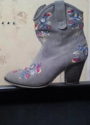 Замшевые весенние осенние демисезонные ботильоны сапоги сапожки ботинки