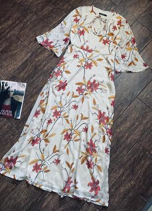 Потрясающе красивое цветочное шелковое макси платье ana alcazar