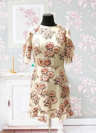 Платье летнее с цветами цветочный принт пионы белое с рюшами zara