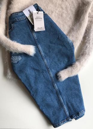 Джинсовая юбка карандаш синего цвета denim co