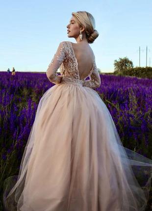 Пышное свадебное платье с кружевом,пышное вечернее платье с разрезом на ноге,выпускное платье