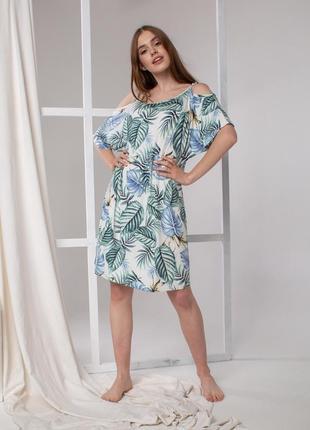 Женское вискозное домашнее платье в стиле oversize с пальмовыми листьями, nicoletta турция