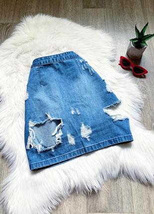 Стильная джинсовая юбка с рваностями 😍