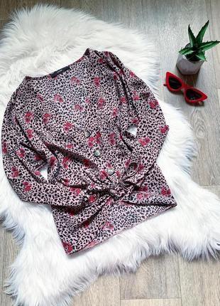 Цветастая пудровая блуза с пуговицами ❤️