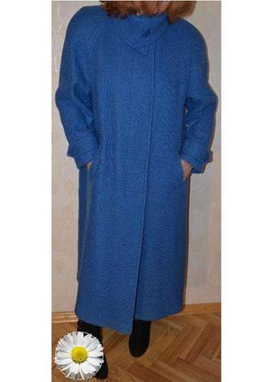 Р.50-52 качественное добротное демисезонное пальто - трапеция, 76% шерсть