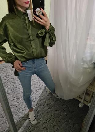 Красивая изумрудная рубашка, сорочка оверсайз