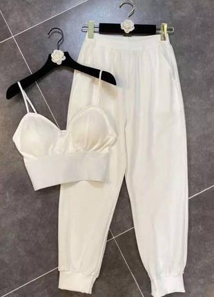 Женский повседневный костюм штаны и топ