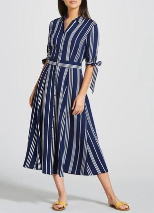 Платье - рубашка миди на пуговицах , и завязками на рукавах