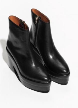 Бутиковые кожаные ботинки полусапожки 39 размер премиум класс & other stories