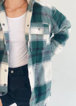 Рубашка пальто теплая в клетку на флисе оверсайз шерсть зеленая