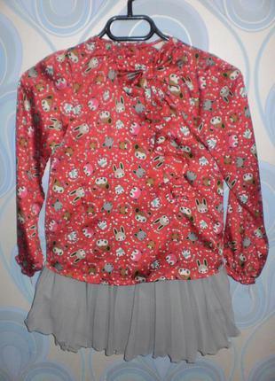 Комплект h&m. блуза и юбка. зайчики.