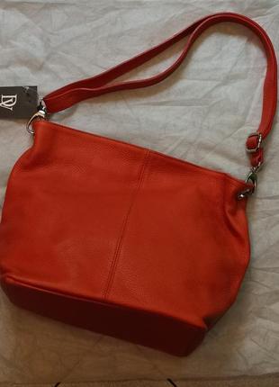 Новая женская сумка из натуральной кожи, производство италия, оранжевый цвет