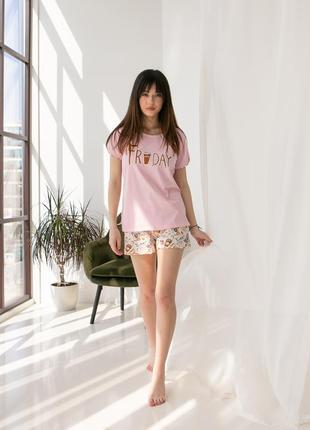 Женская хлопковая пижама с шортиками nicoletta турция. летний домашний комплект