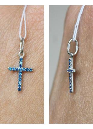 Серебряный подвес-крест мини синий