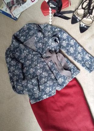 Consequent дизайнерский жакет пиджак кардиган в стиле annette gortz с запахом цветочный принт